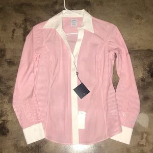 Brooks Brothers Non-Iron Pink White Shirt